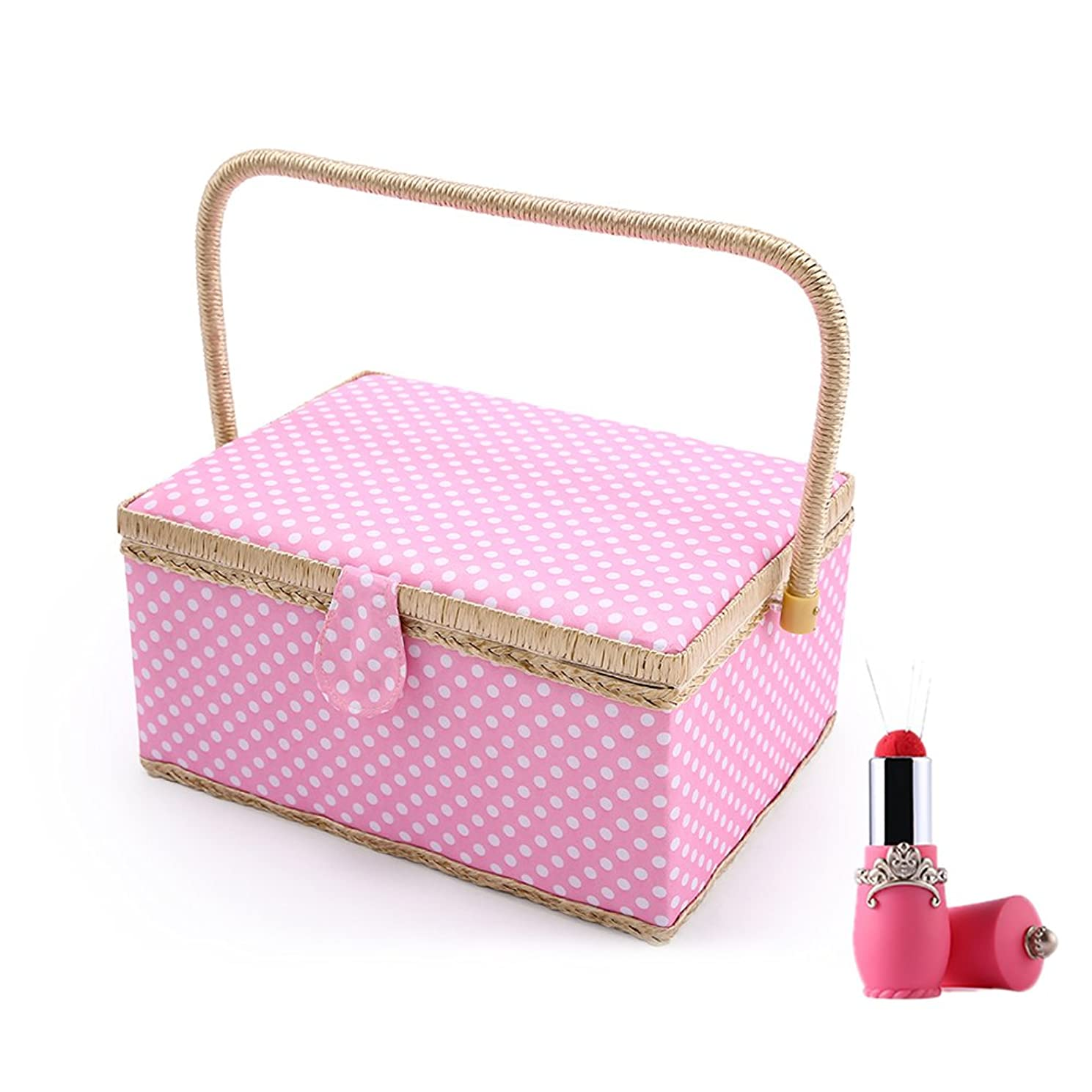 SAXTX Polka Dot Large Sewing Basket Organizer with 100pcs Accessories| Home Essentials Sewing Kit Box for Quilting Embroidery | 12 1/5 x 9 x 6 1/3 inches|Pink