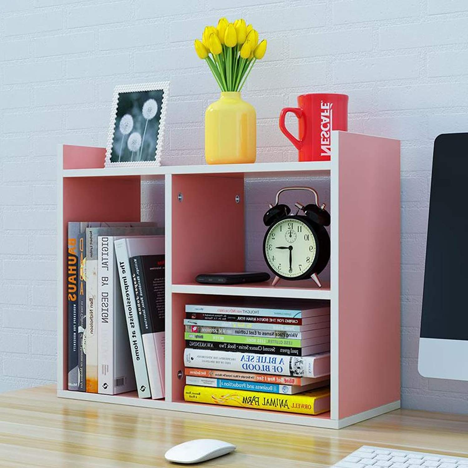 JINLINE Desktop Bookshelf Pink Small Locker Simple Stand Multi-Layer Office Desk Small Bookcase 50x16.8x40cm Book Stand