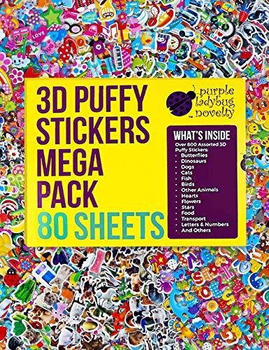 Pegatinas en Relieve 3D para Niños de Purple Ladybug - Gran Lote de 80 Hojas Todas Diferentes y más de 2000 Stickers - Calcomanías de Animales, Letras, Números, Emoji, Estrellas y Mucho Más