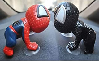 Tidoom Car Window Suction Cup 2pcs Spider Man Toys Figure Car Home Office Decoration Grown-Up Action Toy for Kids Adults Red and Black