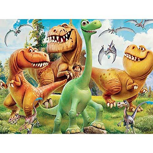 Dovance 5D Diamante Pintura Dibujos Animados Dinosaurio Mundo Mosaico Bordado de Diamantes Taladro Completo DIY Punto de Cruz niños decoración del hogar (cuadrado30x40cm)