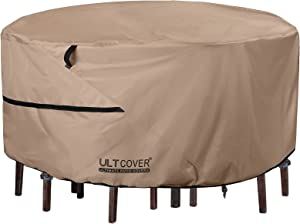 ULTCOVER Round Patio Furniture Cover - Outdoor Waterproof Table with Chair Set Cover 108 inch