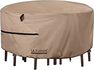ULTCOVER Round Patio Furniture Cover - Outdoor Waterproof Table with Chair Set Cover 76 inch