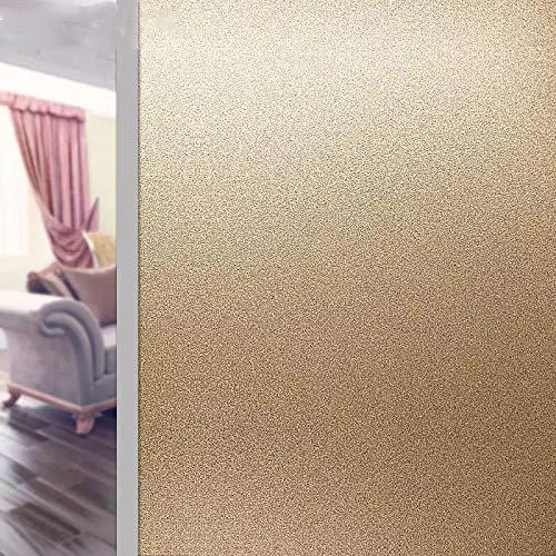 Pegatinas de ventana de oro esmerilado opaco pegatinas de privacidad estática de vidrio película de baño, oficina, tienda, cocina, ventana, papel decorativo para el hogar, 45 x 200 cm