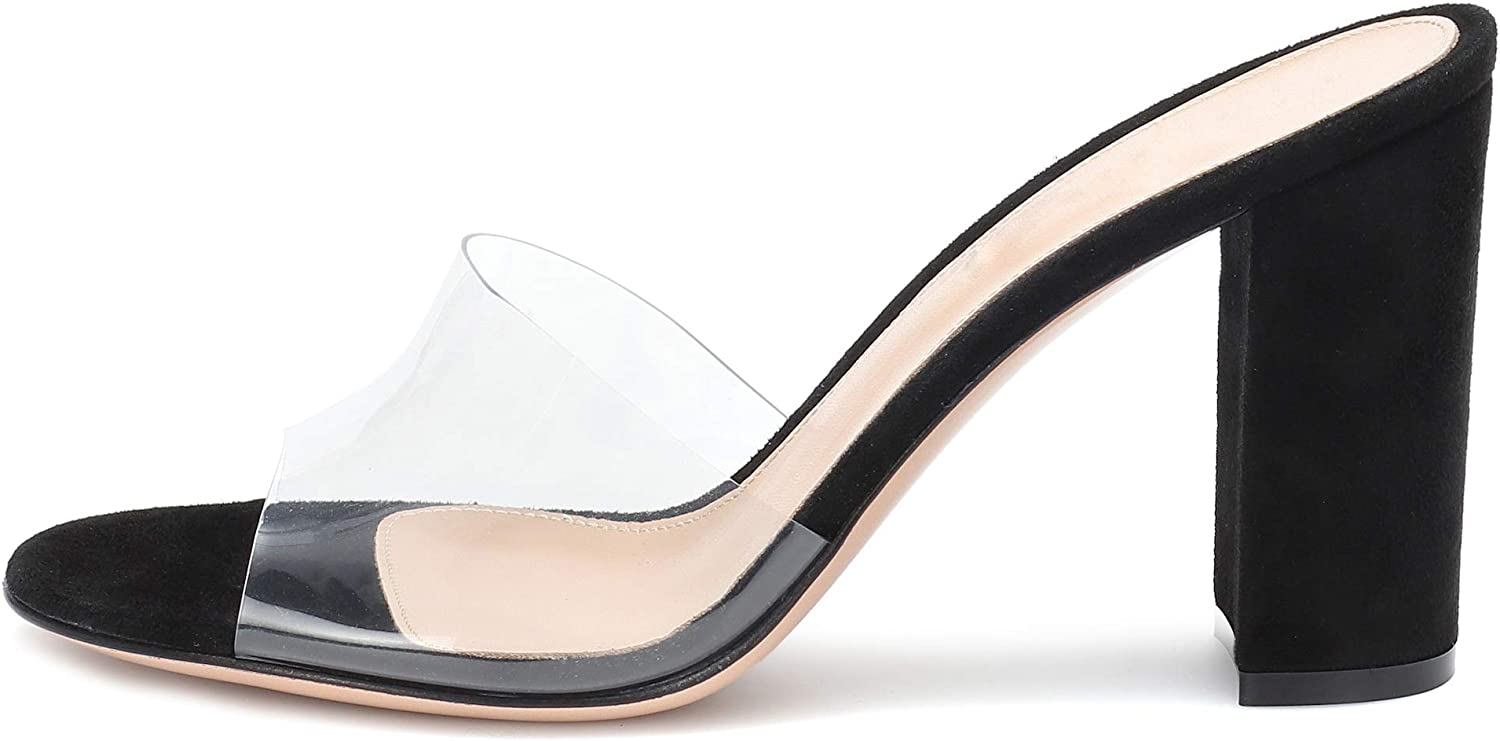 Eldof Womens High Heel Sandals,4 inches Block Heel with Transparent PVC Sandals,Comfort Backless Party Dress Slippers