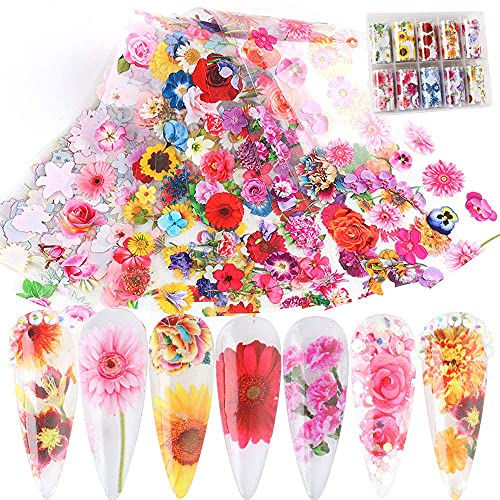 Bonnie-Sam Blooming Flowers Nail Art Foil Box of 39inches Long Sheets Spring Floral Design Sunflower Rose Daisy for Manicure Acrylic Transfer Tips