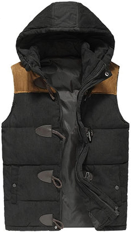 Young Men Autumn and Winter Horn Button Silk Floss Inspissate Stang-up Collar Hooded Vest Coat