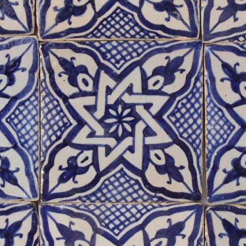 Casa Moro Marokkanische handbemalte Keramikfliese Daya 10 x 10 cm Kunsthandwerk aus Marokko Wandfliese für schöne Küche Dusche Badezimmer | FL7240