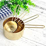 Edelstahl Messlöffel Set Gold Messbecher für Kochen Backen tragbar Küchenutensilien Set von 4 PCS 1 Tasse 1/2 Tasse 1/3 Tasse 1/4 Tasse