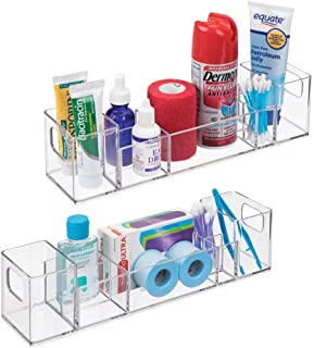 mDesign Plastic Storage Organizer Bin with Handles - Divided Organizer for Vitamins, Supplements, Serums, Essential Oils, Medicine Pill Bottles, Adhesive Bandages, First Aid Supplies - 2 Pack - Clear