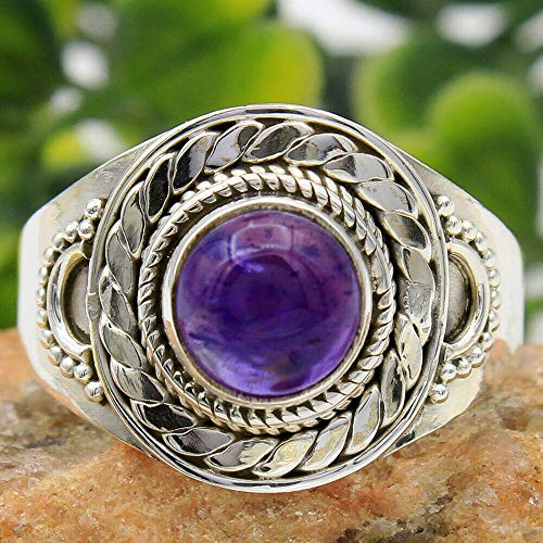 Solid 925 Sterling Silver Rings for Women & Girls, Sterling Silver Amethyst Rings, Bridesmaid Rings, Statement Christmas Gift, Handmade Jewelry