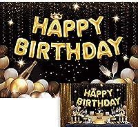 HD 7X5ftブラックゴールド誕生日パーティーの背景風船シャンパンクラウンキラキラ写真背景大人の子男性女性Bday用品ケーキテーブルバナー家の装飾写真ブース小道具