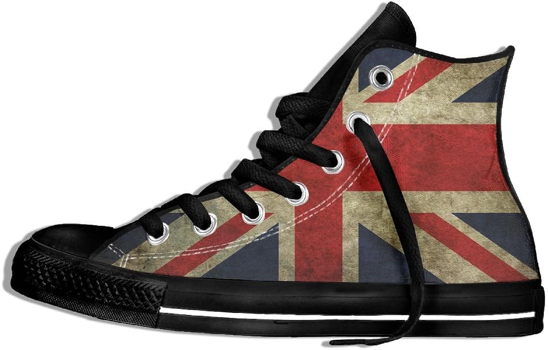 UK Flag Vintage Vintage Vintage Retro Classic Style High Top Flat duk skor Casual skor for Män och kvinnor  för billigt