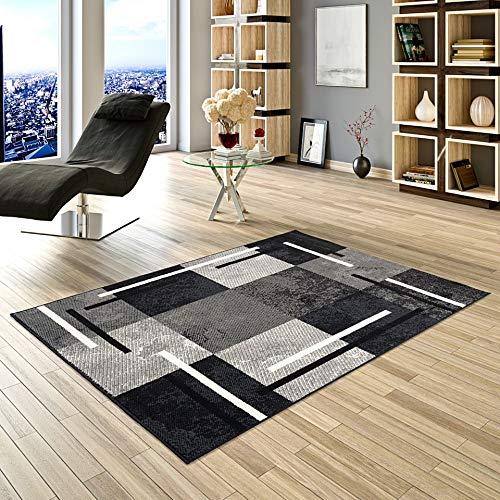 Pergamon Teppich Modern Trendline Schwarz Grau Karo in 5 Größen