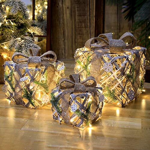 LIPETLI Juego de 3, led de luz Blanca CáLida en Caja de Regalo Cinta de áRbol de Navidad, Cajas Preiluminadas para DecoracióN NavideñA, 25/20/15 Cm,A