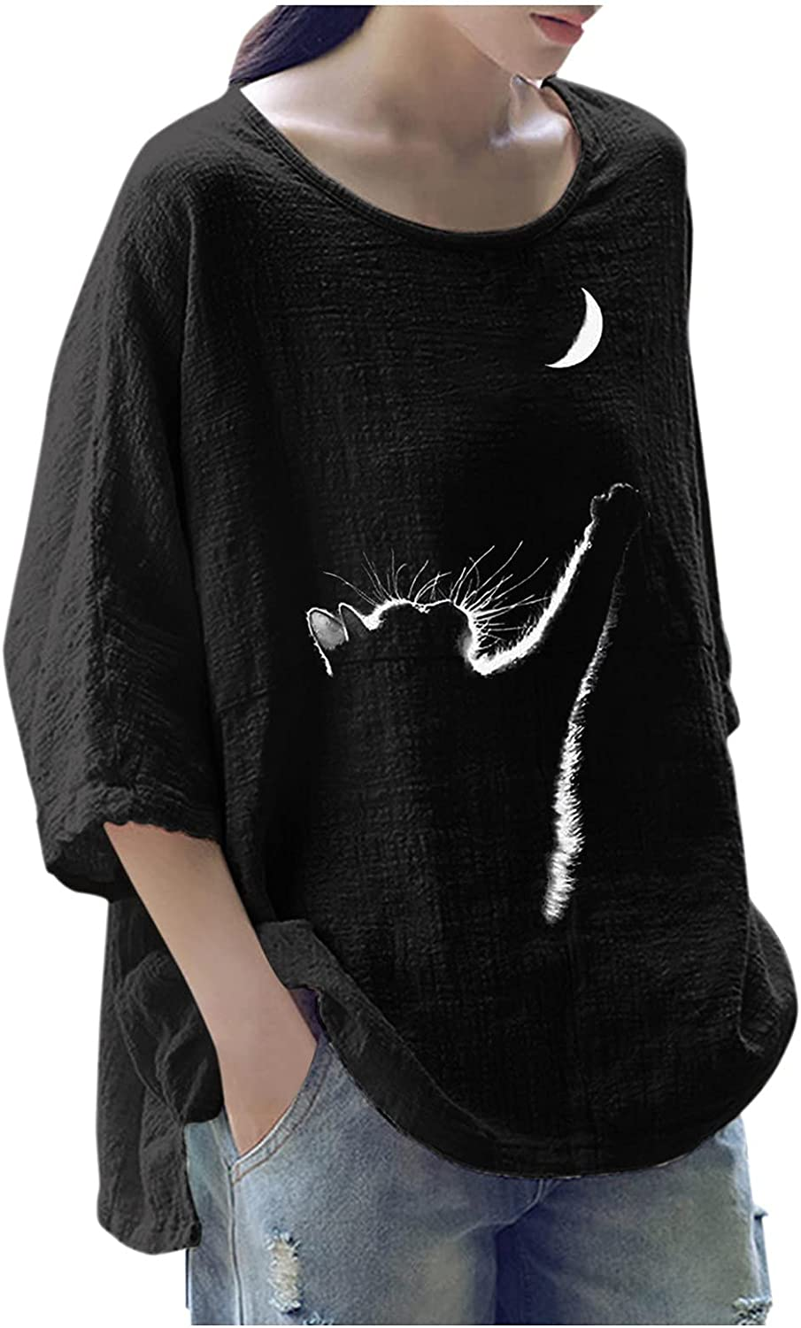 Women's Plus Size 3/4 Sleeve Tees Cotton Linen Tops Loose Fit Floral Casual Shirt Boatneck Comfortable Tunic Blouses