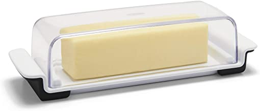 Plato ancho para mantequilla OXO Good Grips, color blanco, Mantequera, Blanco/transparente, Nulo, 1