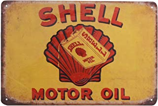 PEI's Retro Vintage Tin Metal Sign, Shell Motor Oil Gasoline, Wall Decor for Home Garage Bar Man Cave, 8x12/20x30cm