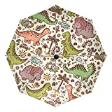 Cute Cartoon Dinosaurier Kompakter Reise-Regenschirm, Outdoor, Regen, Sonne, Auto, faltbar, wendbar, winddicht, verstärkter Baldachin, UV-Schutz, ergonomischer Griff, automatisches Öffnen/Schließen