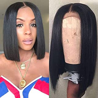 Straight Short Bob Lace Front Human Hair Wigs Pre Plucked With Baby Hair Brazilian Remy Hair Lace Closure Bob Wig (10, Straight Lace Front Bob Wig)