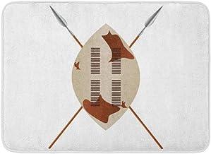 Doormats Bath Rugs Outdoor/Indoor Door Mat Warrior African Shield and Spears Zulu Masai Tribal Africa Ancient Bathroom Dec...