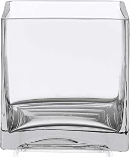 WGVI Clear Square Glass Vase Size 5x5x5 Inches Votive Floating Candle Holder and Floral Centerpiece - Case of 12 pcs