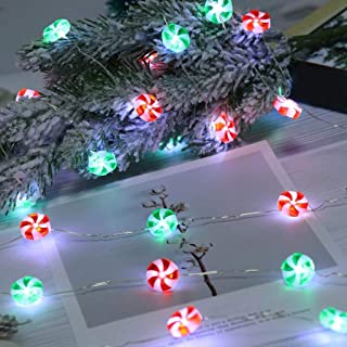 JETTINGBUY Candy Lights,Christmas Candy Decorative Lights LED String Lights 10 ft 40 LEDs Red & Green Sweets String Lights...
