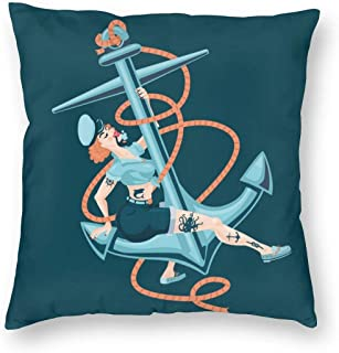 Square Pin-up Sailor Girl With Boat Anchor Sexy Woma Decorative Throw Pillow Cases Soft Polyester Outdoor Cushion Covers 18 X 18 inch for Sofa Bedroom Throw Cushion Cover Couch Chair Back Seat