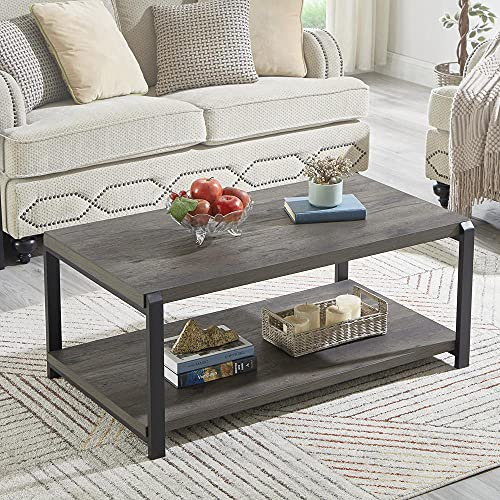 EXCEFUR Coffee Table with Storage Shelf,Rustic Wood and Metal Cocktail Table for Living Room,Grey