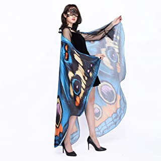 Butterfly Wings Shawl Fairy Soft Fabric for Women Ladies Halloween Party Nymph Costume Accessory