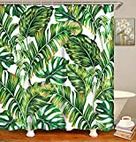 LIVILAN Green Leaves Shower Curtain Set with Hooks, Green Fabric Bathroom Curtain with White Backdrop, Artistic Botany 72' X 72' (Tropical Palm)