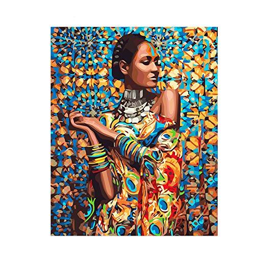 Pintar por Numeros Adultos DIY Kit Facil para Niños Lienzo India Mujer Africana 40x50 cm