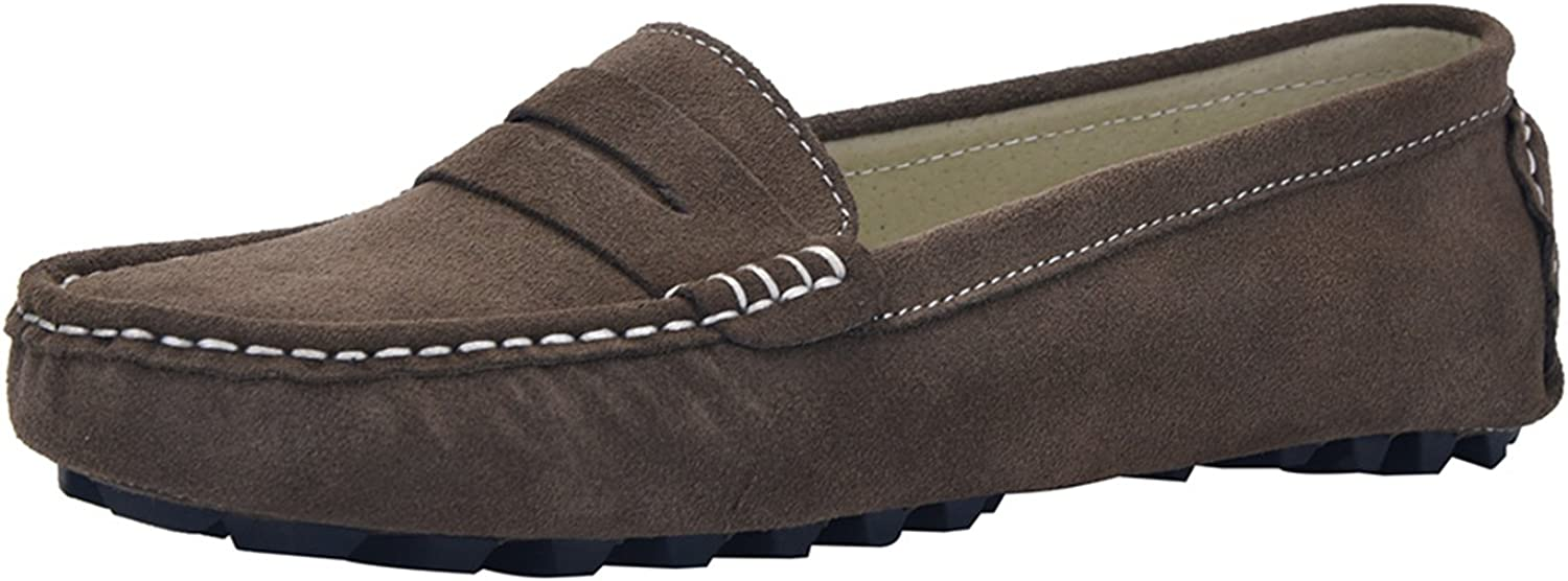 Jv V.J Women's Casual Driving Moccasins Penny Loafers Fashion Suede Leather Dress shoes Flats VJ6088