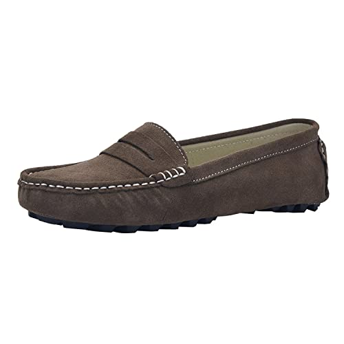 V.J Womens Classic Handsewn Suede Leather Driving Moccasins Penny Loafers Casual Slip On Fashion Boat Shoes