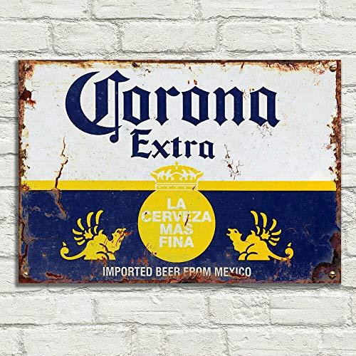 LBS4ALL Corona - Targa in metallo per birra, stile vintage, in alluminio, per pub, tiki, bar, casa, caffè, birra, club retrò