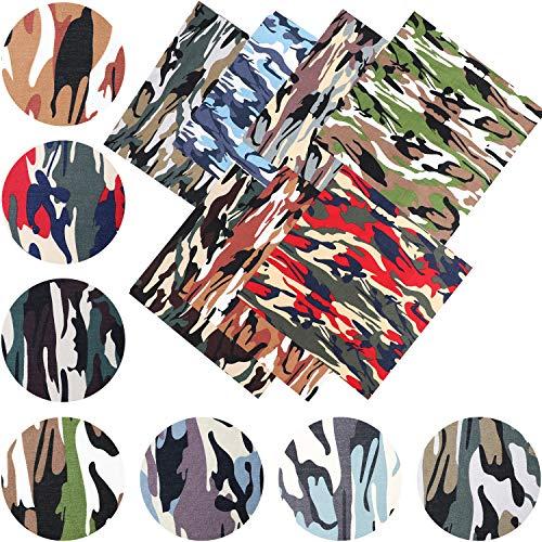 21 Piezas Tela con Estampado de Camuflaje de 10 x 10 Pulgadas Cuadrados de Tela Impresa de Camuflaje de Algodón Grande Tela de Retazos Acolchada para Camisa Ropa Manualidades de Costura, 7 Colores
