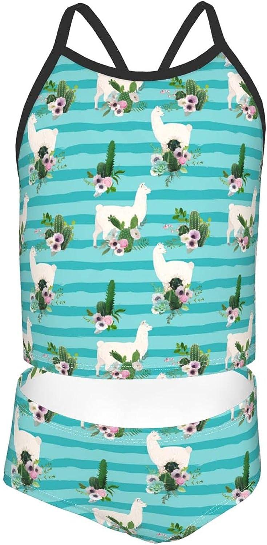 Girls 2 Piece Tankini Swimsuit Set Funny Llama Cactus Blue Bikini Beach Sport Swimsuit Comfortable Bathing Suit