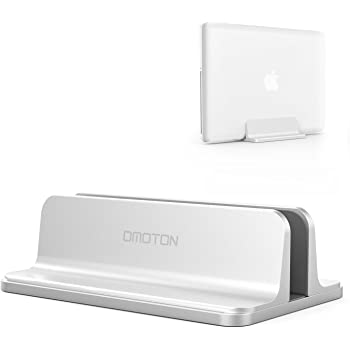 Vertical Laptop Stand [Adjustable Size], OMOTON Desktop Aluminum MacBook Stand with Adjustable Dock Size, Fits All MacBook, Surface, Chromebook and Gaming Laptops (Up to 17.3 inch), Silver