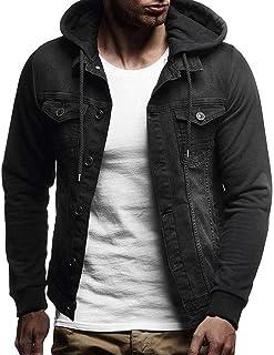 UJUNAORTOP Mens' Autumn Winter Hooded Vintage Distressed Demin Jacket Tops Coat Outwear