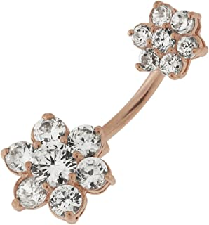 Rose Gold PVD Over Clear Gemstone Dual Flowers Dangling 925 Sterling Silver Belly Button Ring