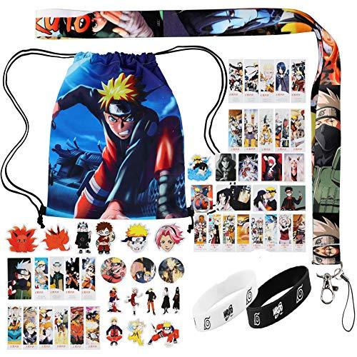 bilkoivn Naruto-Tasche, einschließlich Naruto-Kordelzug-Rucksack, Naruto-Aufkleber, Lomo-Karten, Knopfnadeln, Armbänder, Lanyard, Telefonringhalter