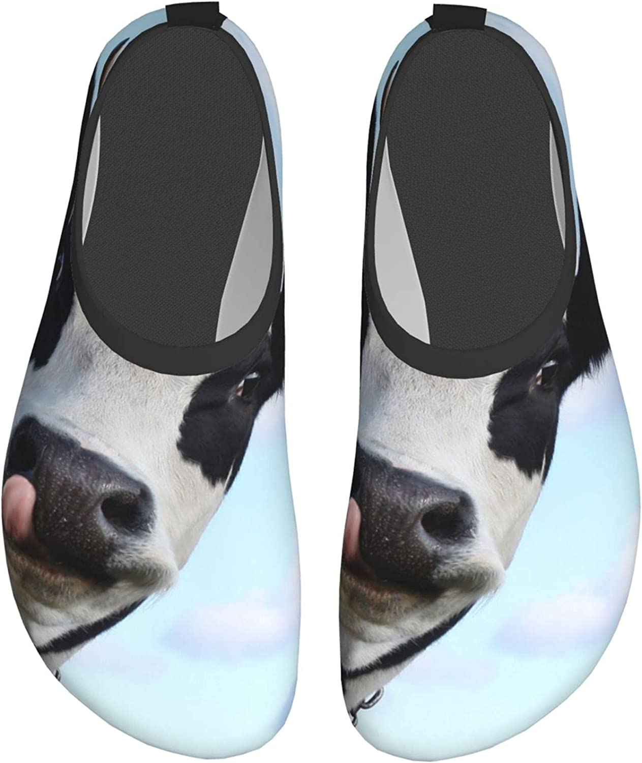 WIEDLKL Funny Smiling Cow with Tongue Water Shoes for Womens Men
