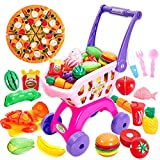 Buyger 31PCS Role Play Toy Food Sets for Children in Kids Play Shopping Trolley Cutting Vegetables and Fruit...