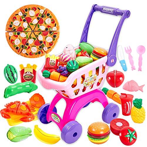 Buyger 2 en 1 Supermercado Carrito Compra Frutas y Verduras Juguete para Cortar Cocina Alimentos Accesorios Regalo Cumpleaños para 3 4 5 Años Niños Niñas