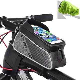 ROTTO Bolso Marco Bicicleta para Bici de Monta/ña Tubo Superior Bolso del Tel/éfono M/óvil Impermeable Pantalla T/áctil Sensible Negro-Rojo