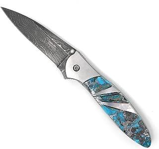 Santa Fe Stoneworks Damascus Kershaw Leek 3-inch Pocket Knife, Ithica Turquoise/Zinc