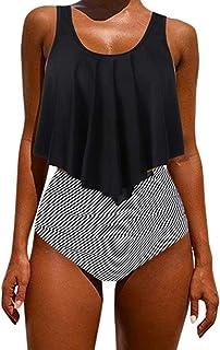 Kidsform Damen Bikini Set Hoher Taille Bademode Zweiteilige Badeanzug mit Volant Neckholder Bikini Retro Oberteil und Bikinihose