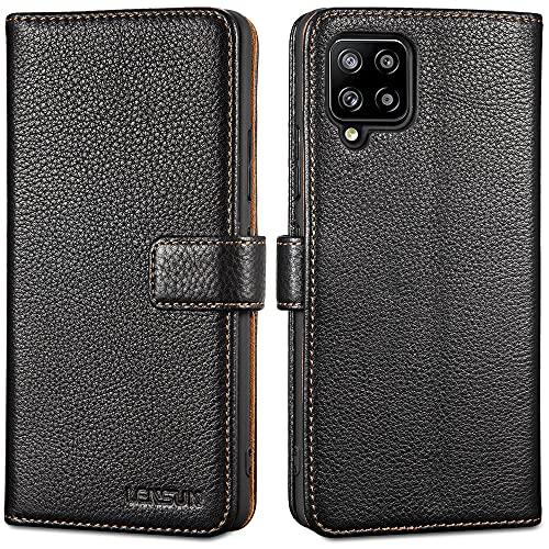 LENSUN Echtleder Hülle für Samsung Galaxy A42, Echtes Leder Handyhülle Handytasche Lederhülle kompatibel mit Samsung Galaxy A42 5G– Schwarz(A42-LG-BK)