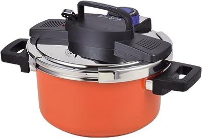 パール金属 圧力鍋 4.2L IH対応 内面ふっ素加工 ワンタッチレバー切り替え式 NEWアルミ オレンジ22cm HB-3296
