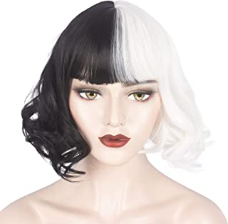 WeKen Black and White Wig for Girls Short Wavy Half Black Half White Wig with Bangs Cruella le Costume Women Cosplay Synth...